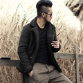 Men's short double breasted jacket coat casual thick Wool lining outwear Winter jacket Men Windproof Faux leather jackets coats