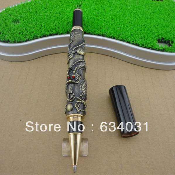 JINHAO 41 ANTIQUE BRASS ROLLER BALL PEN WITH DRAGON EMBOSSMENT CRYSTAL dragon head competitive slingshot antique brass silver