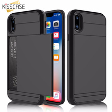 KISSCASE Portable Card Slot Case For iPhone X 7 8 Plus PC Shockproof Cases For iPhone 6 6s 7 Plus 5s 5 SE Protective Back Cover s what protective pc back case for iphone 5 5s deep pink transparent