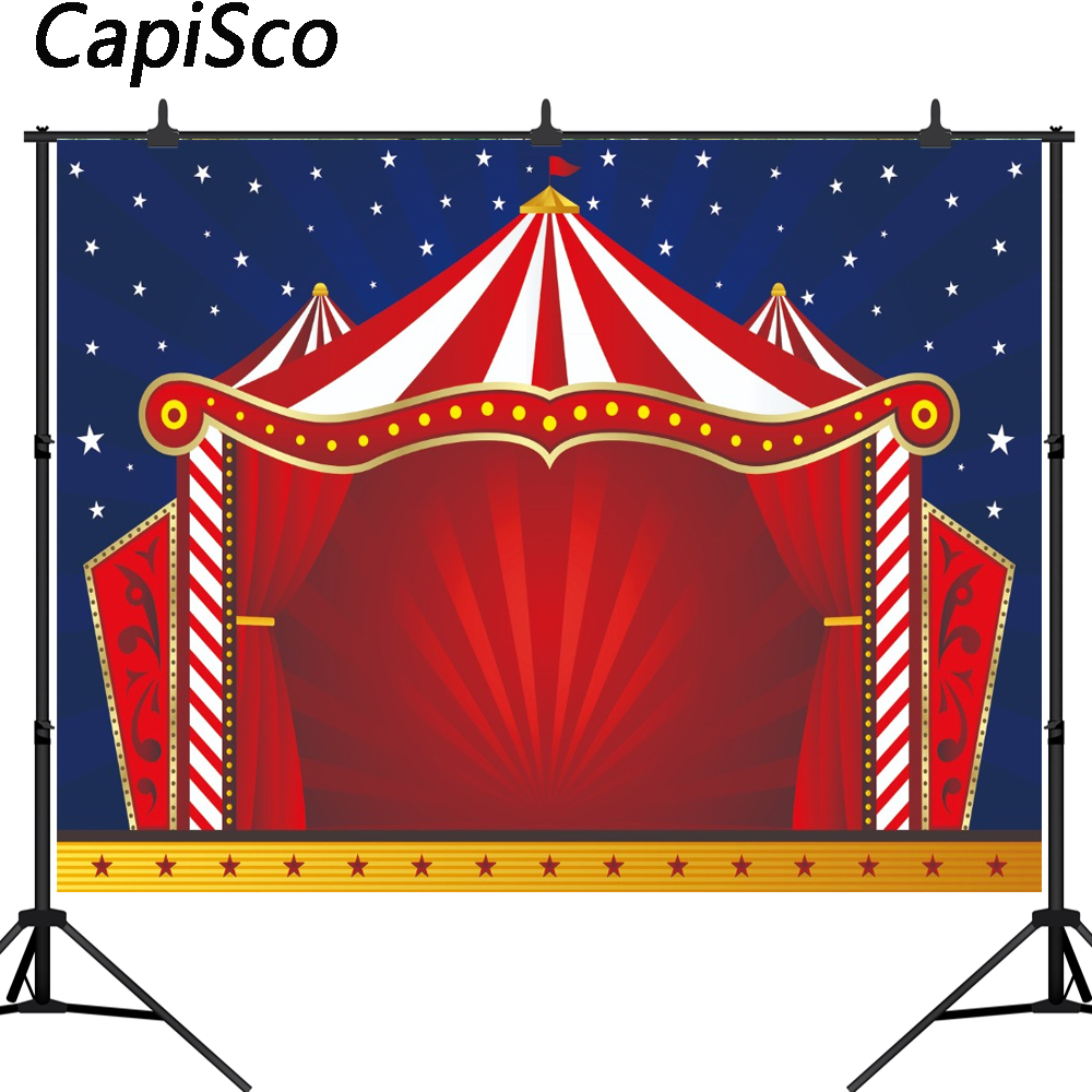 Capisco Photography Backdrop Red Curtains Circus Carnival Birthday Party Banner Baby Shower Decor Photo Backgrounds Studio