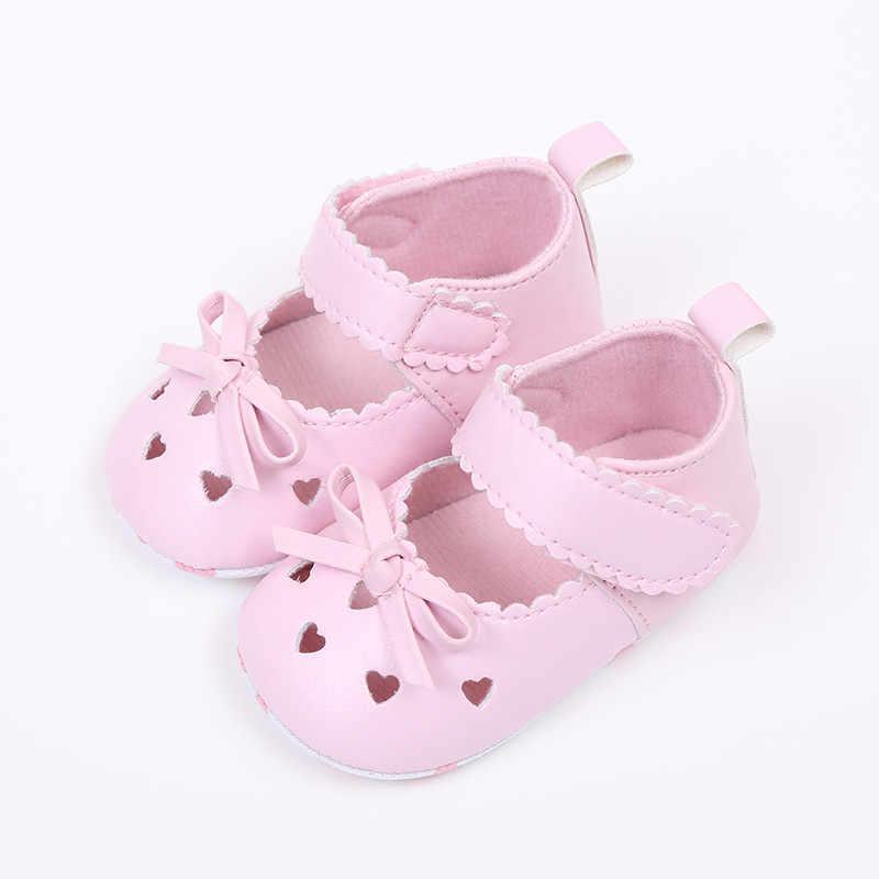 เด็กทารกเด็กหญิงรองเท้ารองเท้าสบายๆรองเท้า Bowknot Anti-Slip Hook & Loop รองเท้าสีชมพูสีขาว crib Chaussure