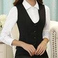 Формальная Едином Стиле Элегантный Черный Тонкий Моды Профессиональный Деловых Женщин Куртки Жилет Жилет Дамы Топы Блэйзерс