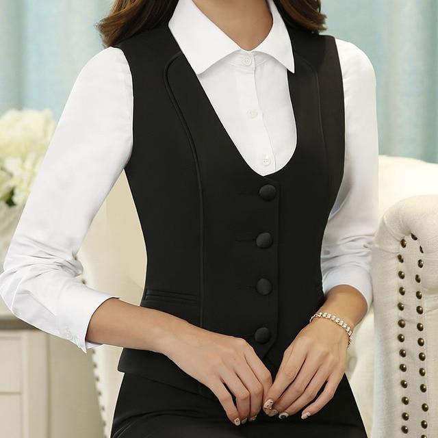 Formal Uniform Style Elegant Black Slim Fashion Professional Business Women Jackets Waistcoat Vest Ladies Tops Blazers