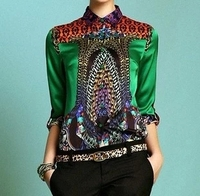 print silk shirt fashion women's long sleeve Blouses & Shirt silk plus size shirt all match silks and satins top green
