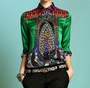 print silk shirt fashion font b women s b font long sleeve font b Blouses b