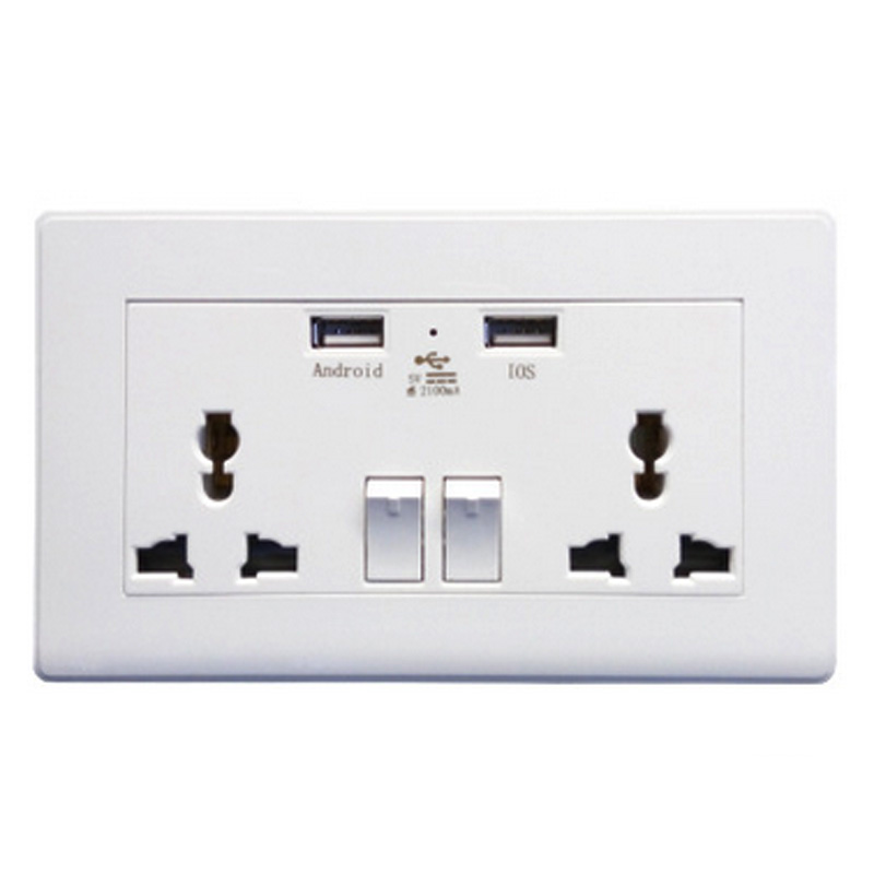 Universal Dual 2 USB Electrical Socket 2100mA Electric Wall Power Sockets Outlet Adapter Plug Plate
