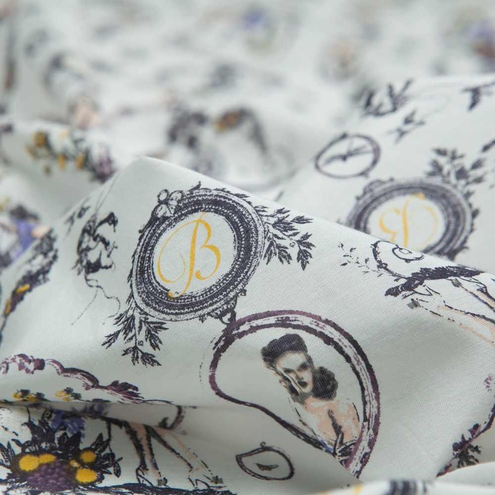 Europa stil: Lila und weiße blumen und frauen gedruckt reiner baumwolle stoff, nähen für kleid, rock, bluse, home, handwerk von der werft