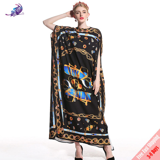 38f32f8cb5d72 US $105.99 |High Quality Runway Fashion Designer Maxi Dress Women's Vintage  Printed Batwing Sleeve Loose Bohe Casual Long Dress Free DHL-in Dresses ...