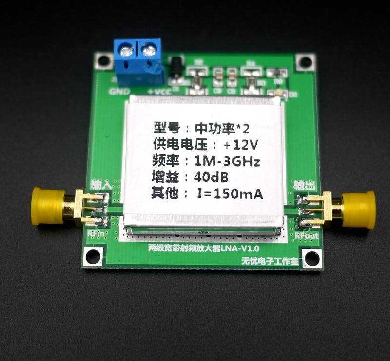 RF Broadband Medium Power Amplifier LNA (0.02-3GHz Gain: 40dB)