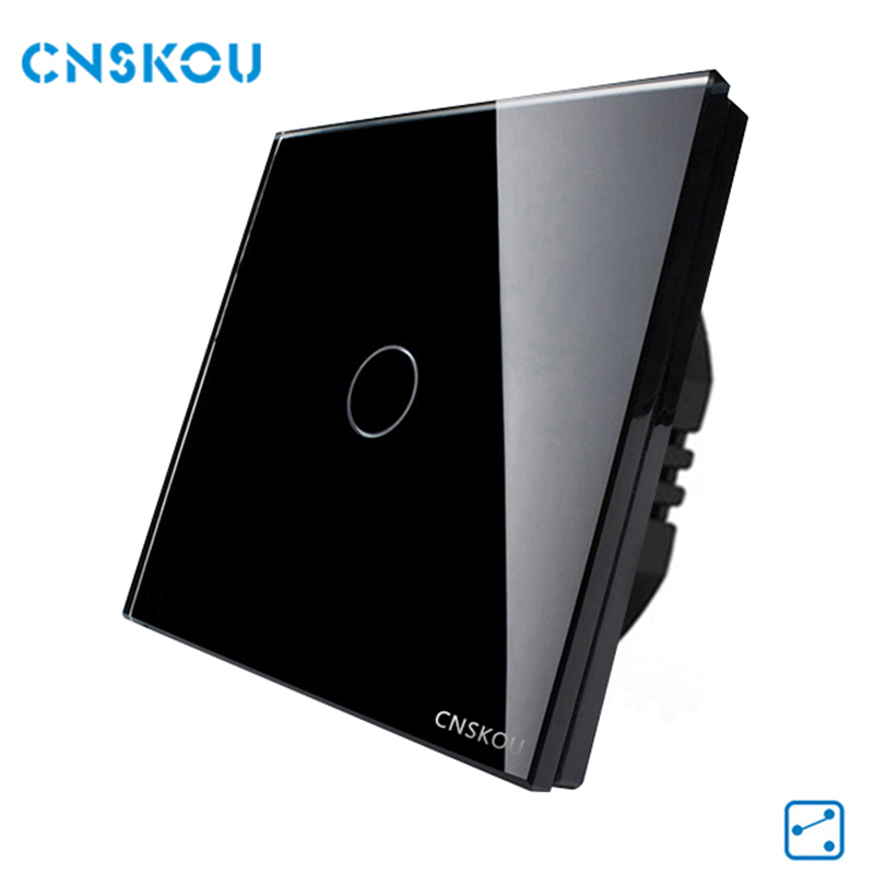 Cnskou EU Standard Touch Switch 1 Gang 2 Gang 2 Way Crystal Glass Panel Wall Light Switch Smart Home Manufacturer eu standard 2 gang 1 way touch switch crystal glass panel wall light switches smart home automation round type
