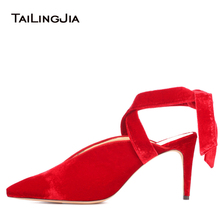 Pointy High Heel Red Velvet Pumps Women Stylish Ankle Wrapped Slingbacks Black Heeled Shoes Ladies Evening Dress Heels 2018