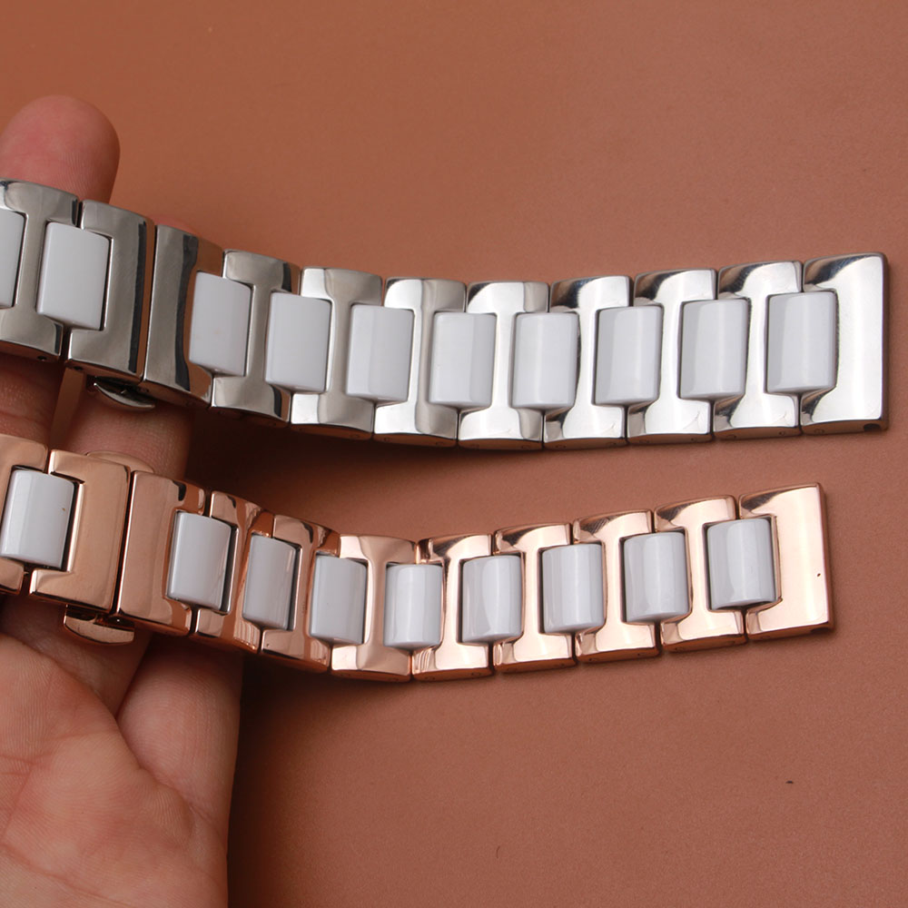 14mm 16mm 18mm 20mm 22mm White Ceramic watchbands stainless steel metal silve rosegold Buckle high quality watch accessories