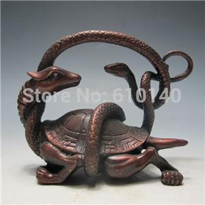 Vieux Bronze Chinois Sculpté à La Main Statue-Tortue et Serpent
