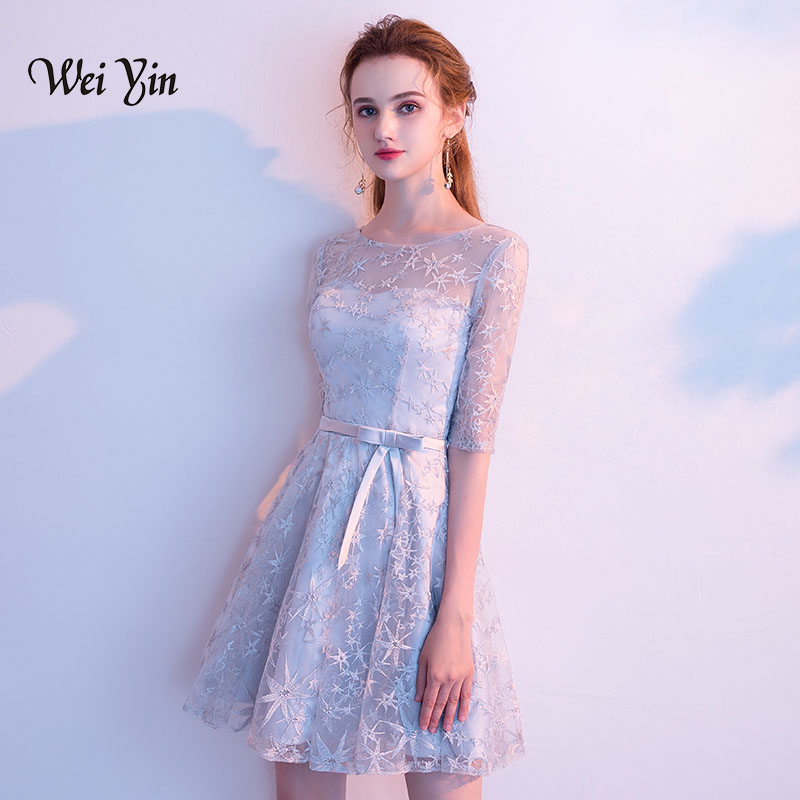 weiyin Elgant O-neck Half Sleeves Gray   Cocktail     Dresses   2018 New Short Lace Evening Party   Dresses   WY881