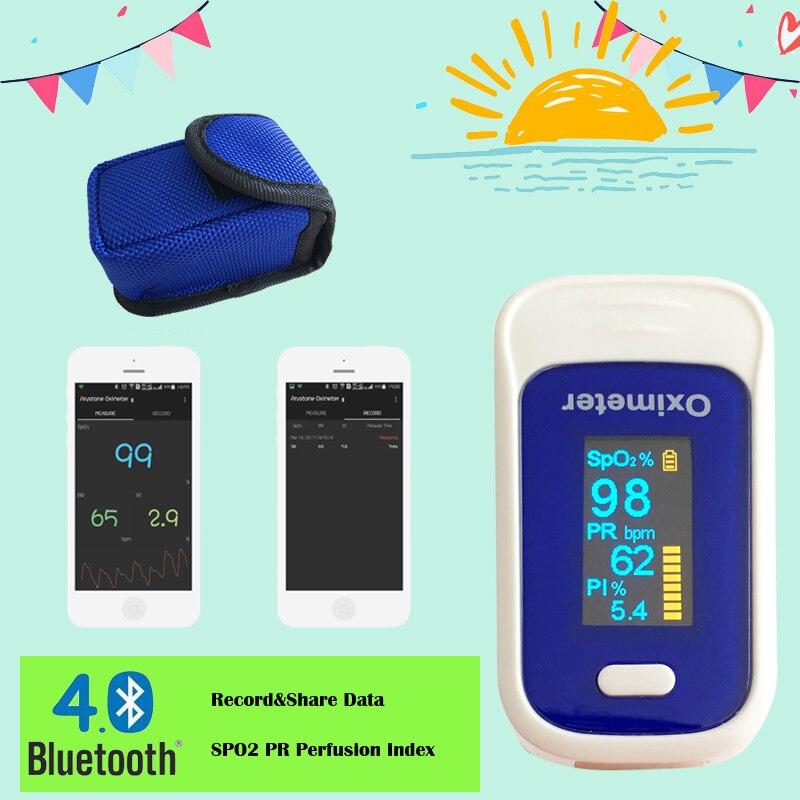 Andriod mobile Bluetooth 4.0 OLED Bout Des Doigts Oxymètre de Pouls Doigt Oxymètre pulso SpO2 en Oxygène du Sang Saturation Moniteur