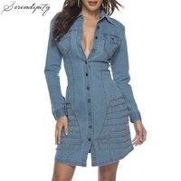SRDP Sexy rivet denim women shirt dress Buttons blue plus size jeans dress female Autumn ladies fashion casual vestidos 2019