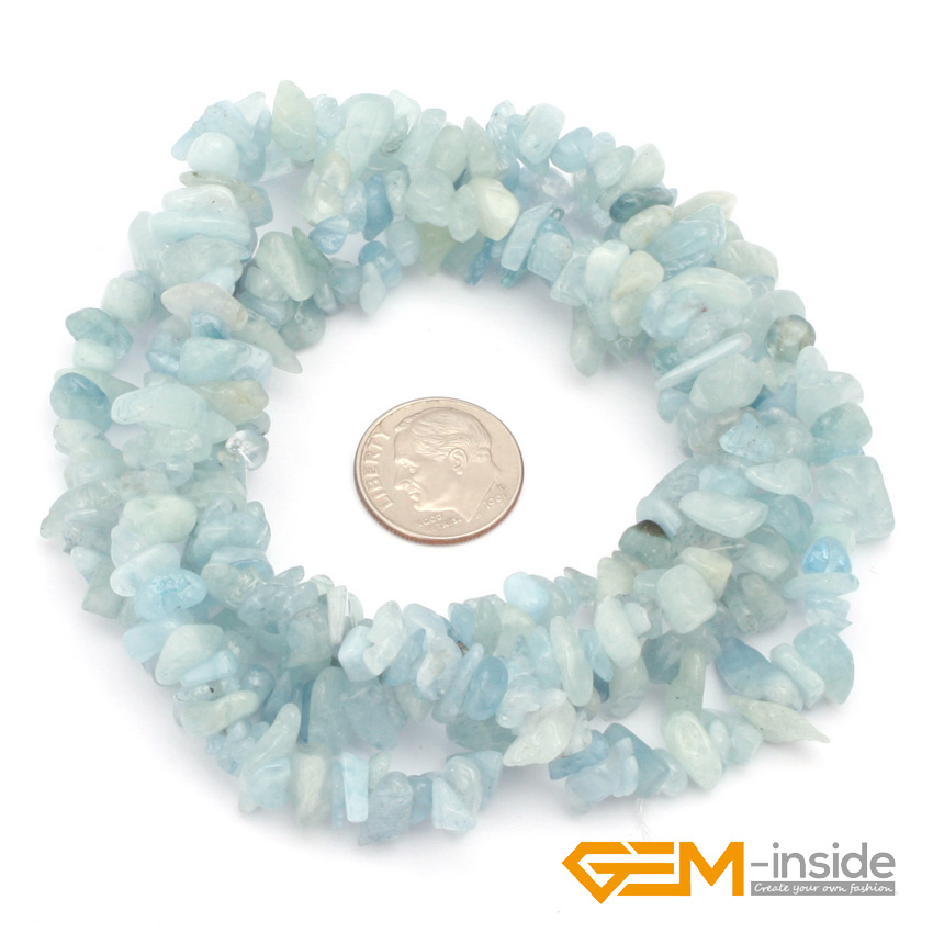 6--7mm Aquamarines Biru Batu Alam Chip Beads Untuk Membuat Perhiasan - Perhiasan fashion - Foto 2