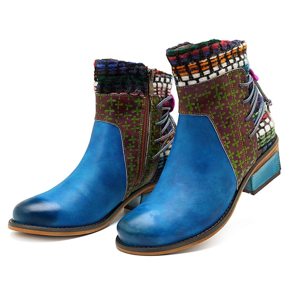 Azul Flores Las Tobillo Vintage Otoño 2019 Cuero Primavera Para Encaje Zapatos Mujeres Correa Johnature Botines Genuino Botas Mujer Nueva De zT0wTqH