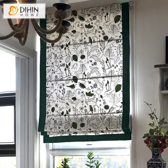 Natural Cotton Fabric Window Treatment Blackout Curtains Roman Shade Customized Blinds The Finished Curtain