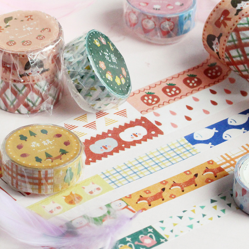 Mohamm Kawaii Cute Collage Series Color Washi Masking Tape Release Paper Stickers Scrapbooking Stationery Decorative Tape