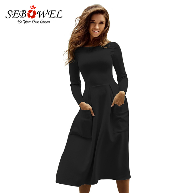 Sebowel Winter Round Neck Casual Long Dress Women Black Big Pocket Skater  Dress Long Sleeve Pleated e1cd57bb48a8