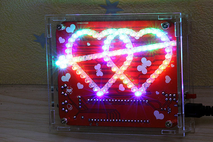 Colarful  love Heart shaped LED display kit with shell Electronic DIY kits Soldering Practice Kits DIY Brain-training Toy  colarful led ball display rhythm lamp with infrared remote control electronic diy kits soldering kits diy brain training toy