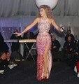 Vestido de festa longo Sereia Halter Fenda Alta Até O Chão Pesado Frisada Myriam Fares Vestido Celebrity Dresses For Sale abiye