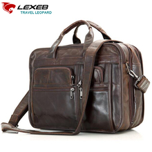 LEXEB Brand Men's Full Grain Leather Briefcase High Quality Chocolate Hand Office Bag Man Business Bags For 15 Inch Laptop
