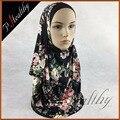 10 шт./лот Новое Прибытие Цветочные Печатный 2 Петли Джерси Мусульманин Исламская Мгновенный Хиджабы для Женщин PHealthy