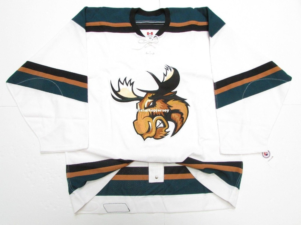 fcba1b67e7a Manitoba Moose Team Issued Premier White Custom Double Stitched Jerseys
