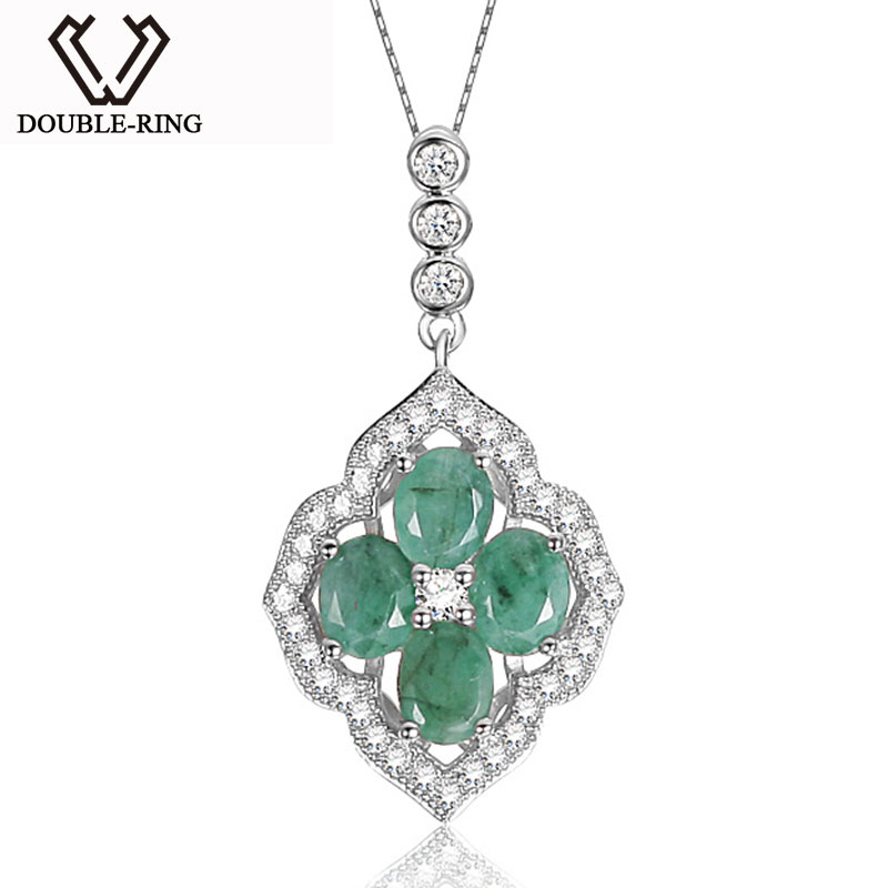 natural pendant itm sterling in with diamonds ct ebay emerald silver
