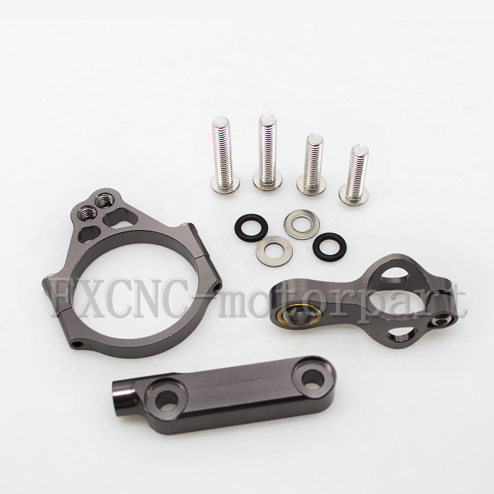 ФОТО FXCNC Gray  Aluminum Steering Damper Stabilizer Bracket Mounting Support Kits Fit For KAWASAKI  VERSYS 1000  2012-2016