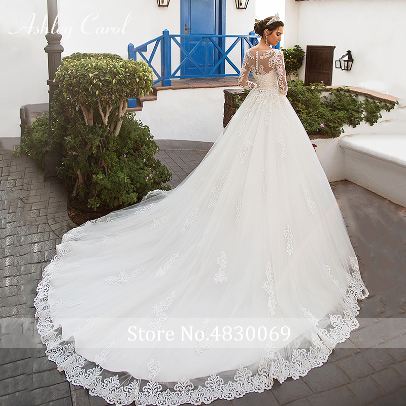Image 2 - Ashley Carol Sexy Scoop With Jacket Long Sleeve Ball Gown Wedding Dresses 2019 Romantic Tulle Bride Dress Princess Wedding Gowns-in Wedding Dresses from Weddings & Events