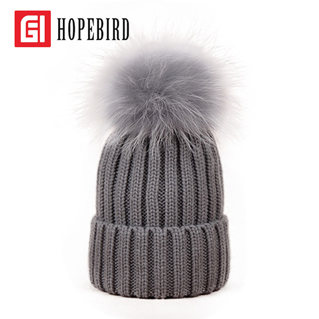 2017 New Fashion Winter Real Raccoon Fur White Hats for Women Warm Soft Female Thick Knitted Caps Big Pom Pom Hat