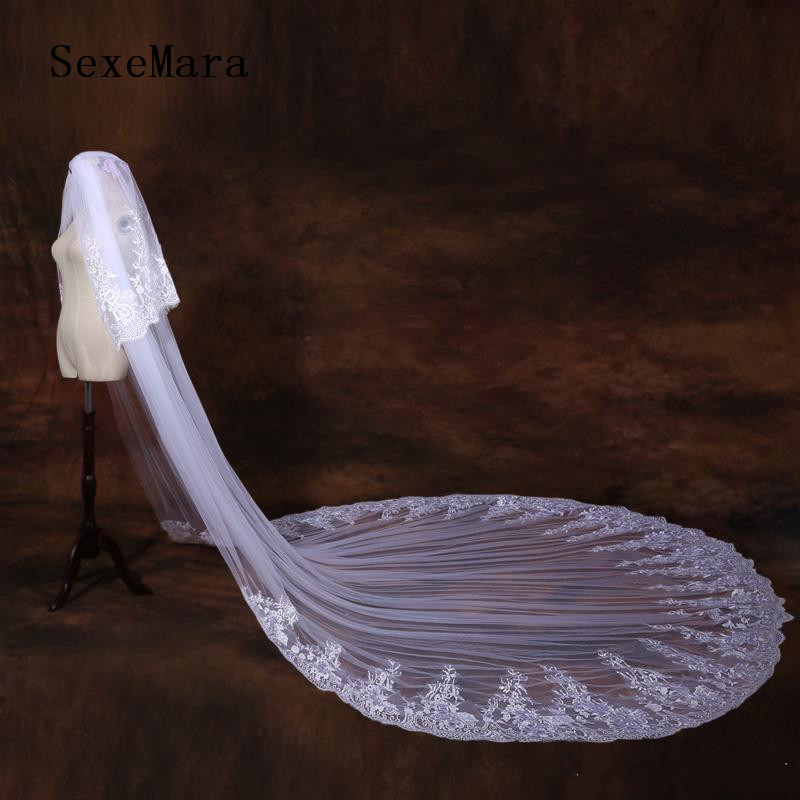 Two Layer 2019 Customized Bridal Veils Cathedral Length Tulle Long Wedding Veils Lace Applique Bride Accessories With Comb