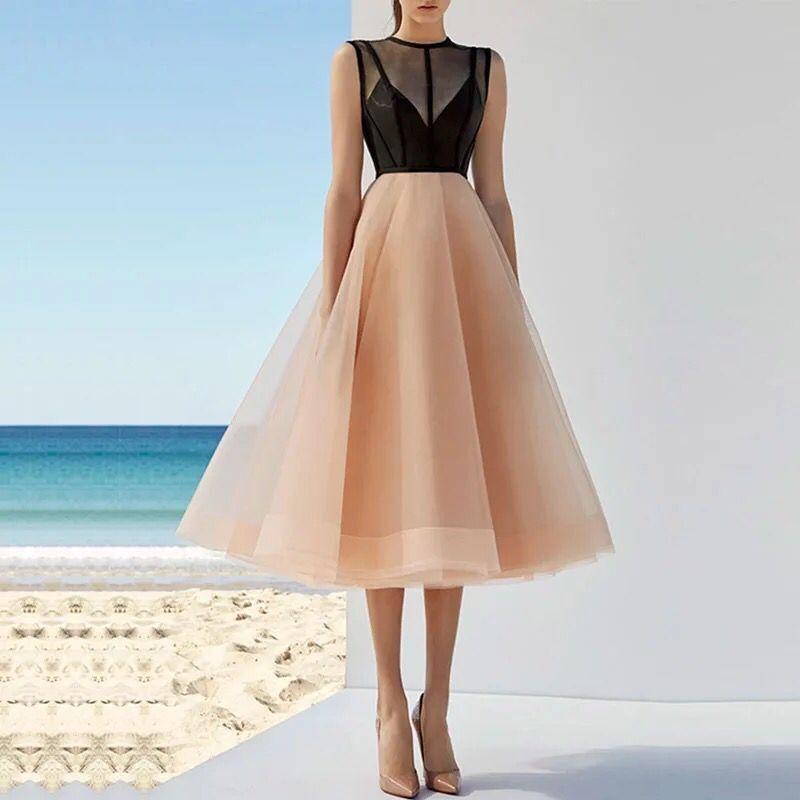 Custom Made 2 Colors Evening Dress Prom Dress vestido de festa Party Gowns Midd Calf A Line Elegant Evening Dresses abiye
