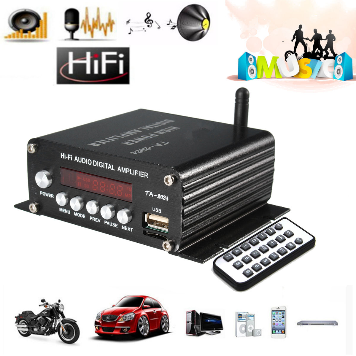 Amplificateur Audio HI-FI bluetooth classe D amplificateur Audio stéréo numérique FM pour voiture maison lecteur MP3