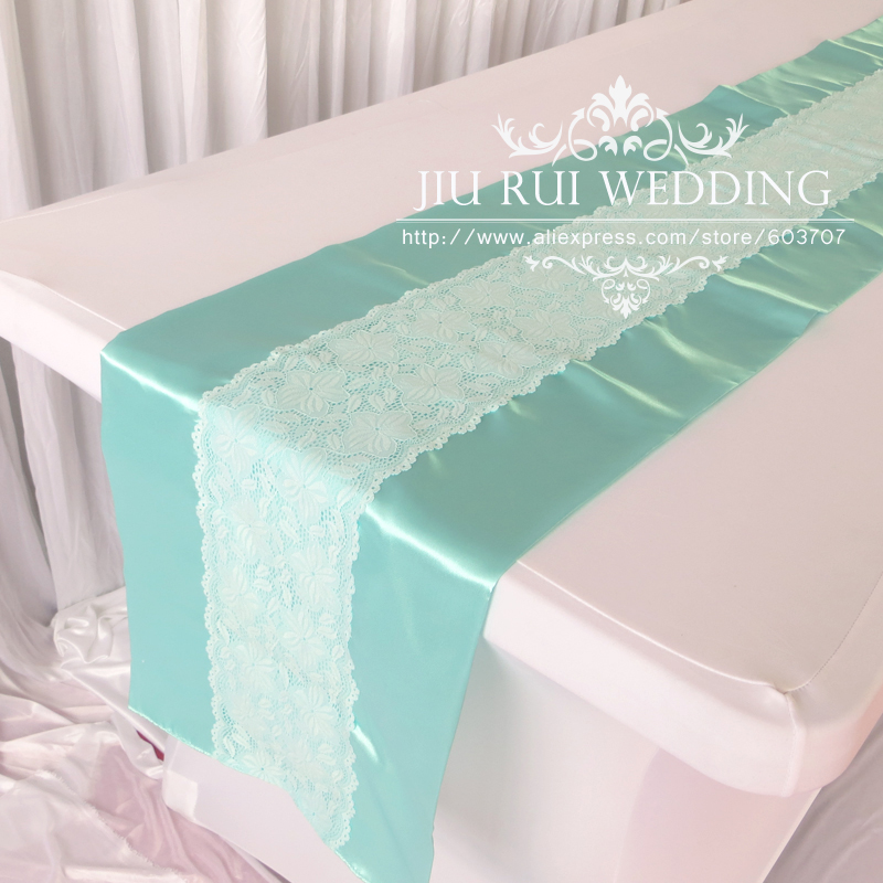 Fashion Aqua Blue Turquoise Mint Lace Table Runner For Wedding/Home Table  Decor(China