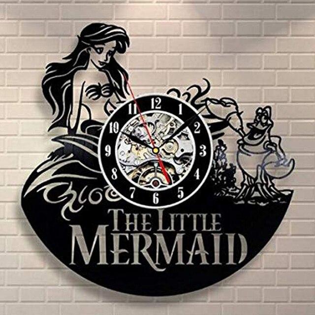 Wandklok Klok la petite sirène | Disque vinyle, horloge murale, décoration pour chambre denfants, horloge Creaoon 3d, décor de maison, 2019