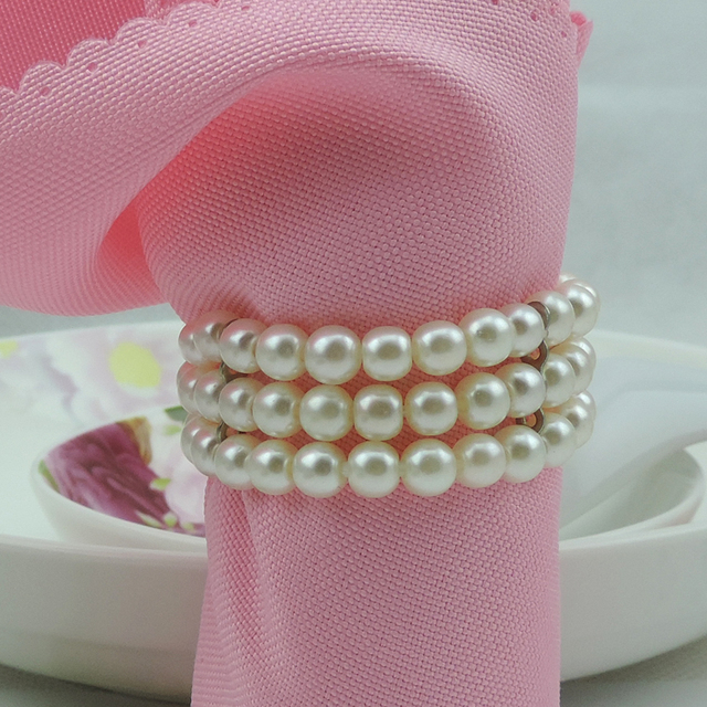 white pearls napkin rings hotel party table decorations supplies luxury party napkin rings wedding accessories - Wedding Napkin Rings
