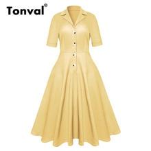 Tonval Rockabilly 50s Yellow Women Midi Dresses Turn down Collar Office Lady Dress Autumn Vintage A Line Dress