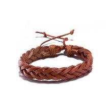 2017 New Simple Designer Women Wrap Bracelet Genuine Leather Braided Bracelet Brown Vintage Hiphop Girl Jewelry Accessories
