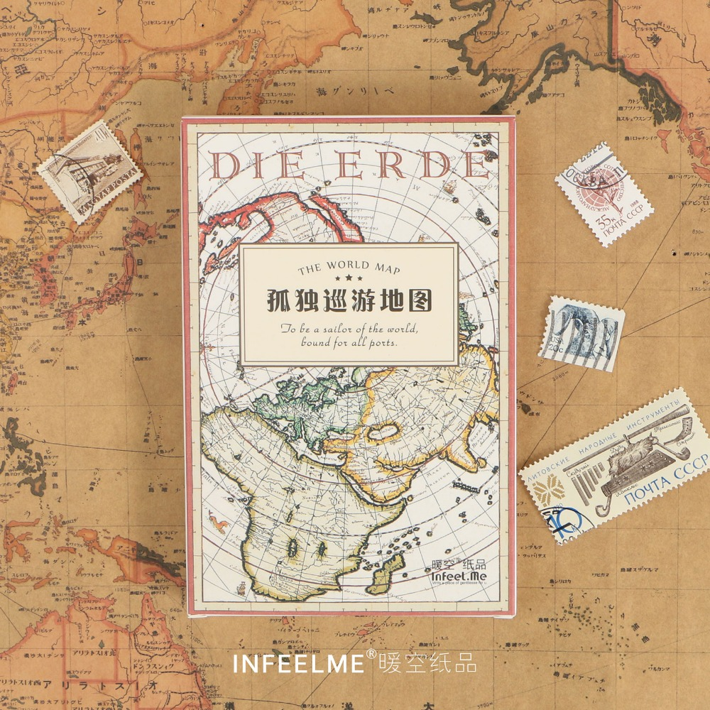 New Hot Sale 30 Pcs/1 Lot Retro Vintage Map Greeting Card Postcards Birthday Bussiness Gift Card Set Message Card