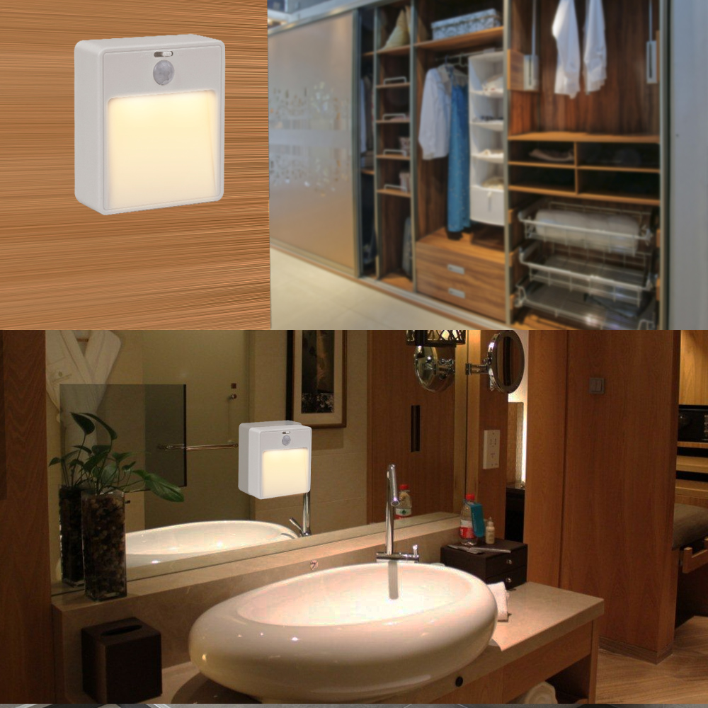 Espow LED PIR Motion Sensor Night Light Intelligent Lamps LED Body Motion Induction Battery Powered Stick / Hanging Stairs four leaf clover pir motion sensor led night light smart human body induction novelty battery usb closet cabinet toilet lamps
