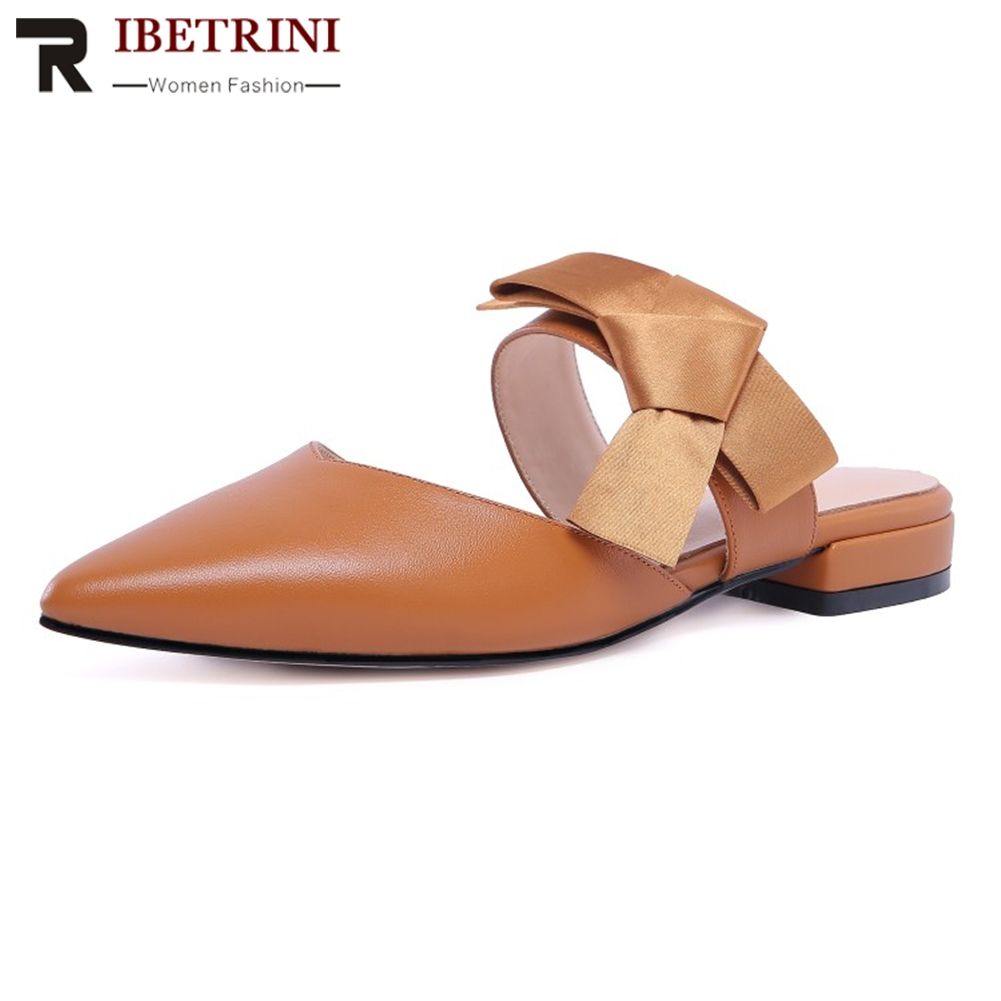 RIBETRINI New Hot 2019 Cow Leather Pointed Toe Classics Chic Mules Woman Shoes Slip On Bowtie Shoes Woman Pumps MulesRIBETRINI New Hot 2019 Cow Leather Pointed Toe Classics Chic Mules Woman Shoes Slip On Bowtie Shoes Woman Pumps Mules