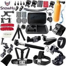 SnowHu for Gopro accessories Set case Chest Belt Head Mount Strap Go pro hero 5 4 3+ Black Edition set xiaomi yi 4k GS13