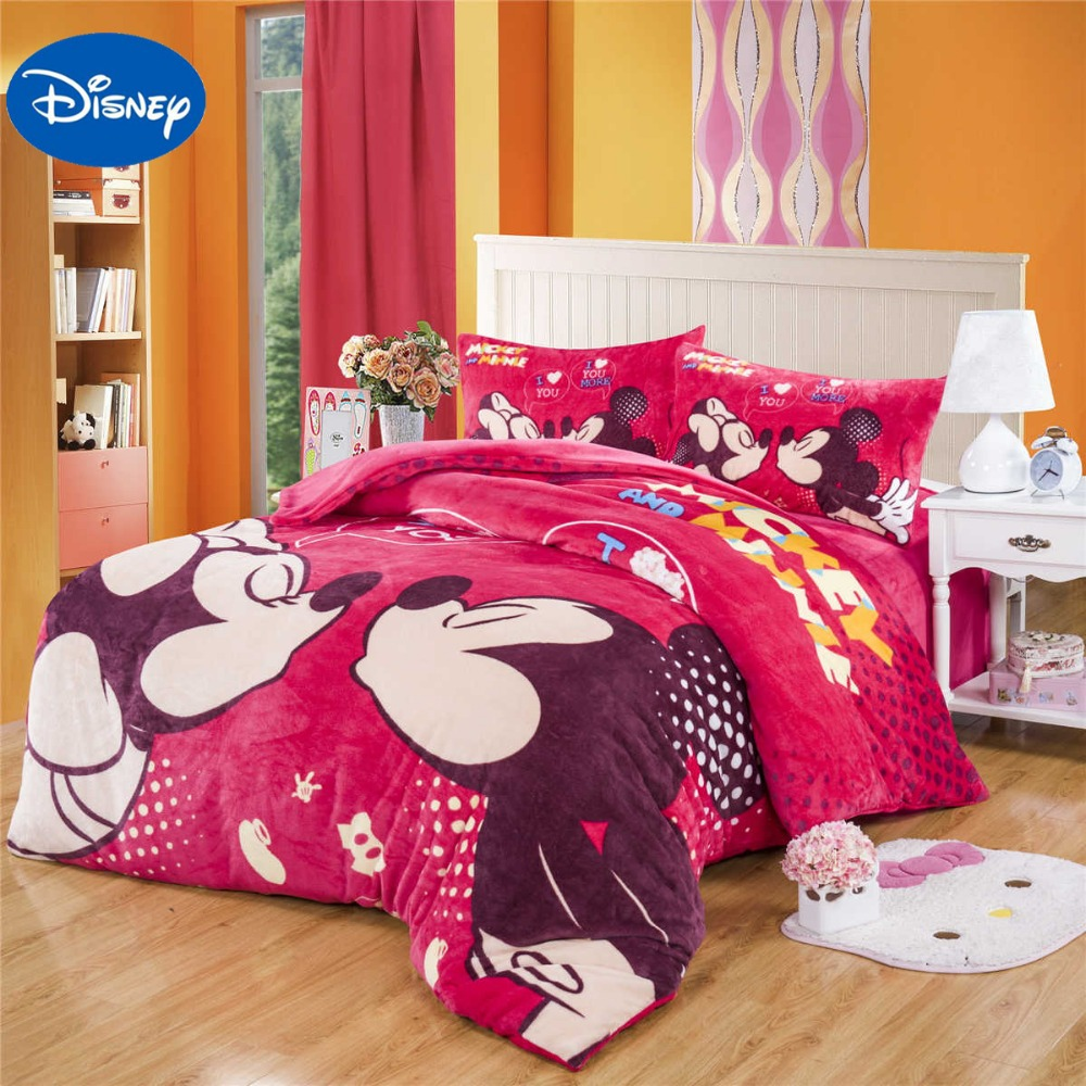 Mickey Minnie Mouse Flannel Quilt Comforter Bedding Set Twin Full Queen Size Bedspread Girls Bedroom Decor