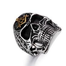 Men's Stylish Skull Themed Stainless Steel Signet Ring