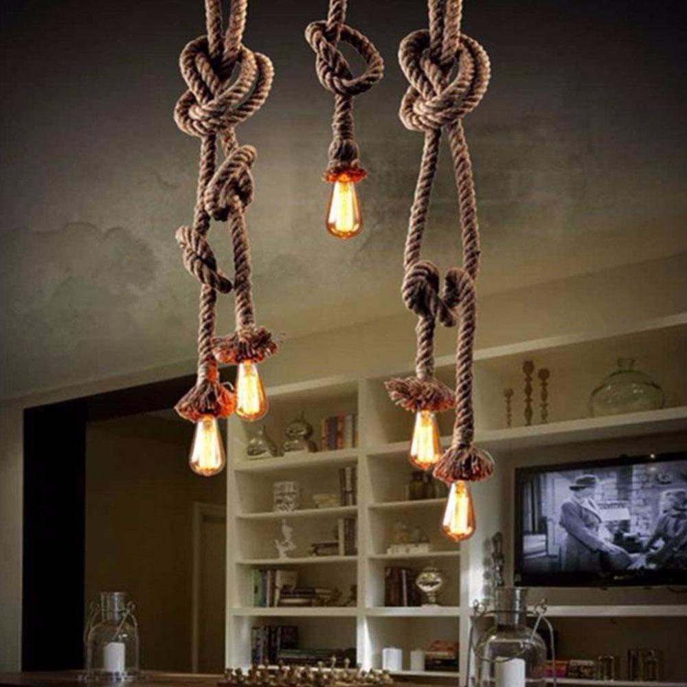 hot sale online d24de 03897 Abajur E27 Retro Hemp Rope Knitted Stainless Chandelier Light Fittings  Accessories Wedding Decoration Luminaria Lumiparty-in Lamp Bases from  Lights & ...