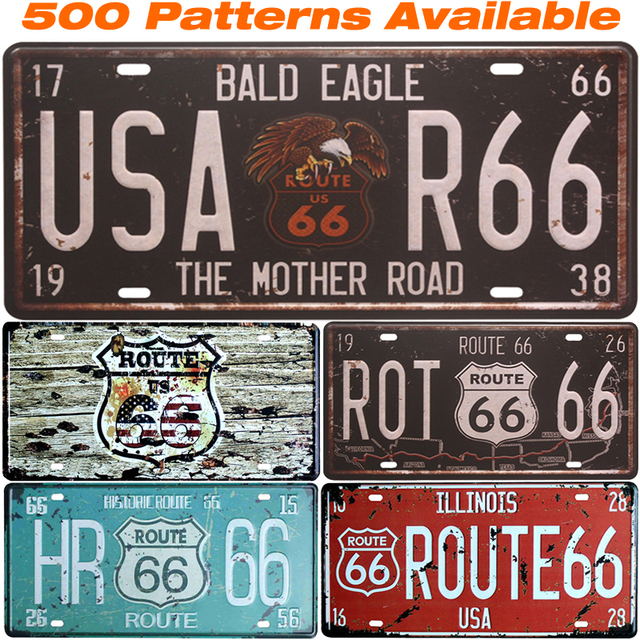 Route 66 ] Car American License Plate USA Vintage Home Decor Tin ...